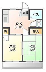 愛知県田原市吉胡町木綿台の賃貸アパートの間取り