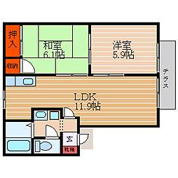 滋賀県彦根市戸賀町の賃貸アパートの間取り