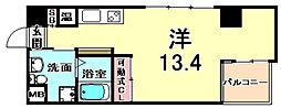 エス・キュート魚崎 6階ワンルームの間取り