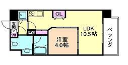 ロッカベラアパートメント 10階1LDKの間取り