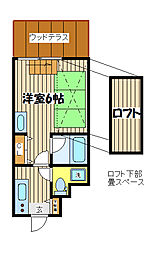 東急東横線 中目黒駅 徒歩7分の賃貸テラスハウス 1階1SKの間取り