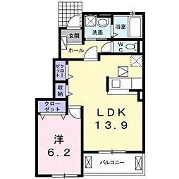 愛知県豊橋市西高師町字小谷の賃貸アパートの間取り