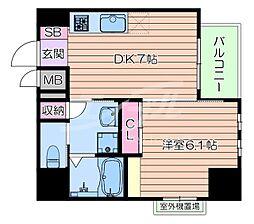 おおさか東線 南吹田駅 徒歩10分の賃貸マンション 9階1DKの間取り