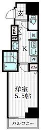 アイディ大井町22 7階ワンルームの間取り