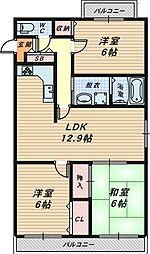 ソシア加茂[2階]の間取り
