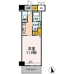 豊橋鉄道東田本線 札木駅 徒歩7分の賃貸マンション 9階1Kの間取り