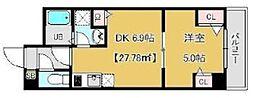 プランドール千田 4階1DKの間取り
