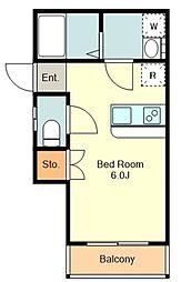 ハイツOggi 1階ワンルームの間取り