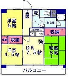 山八マンションA棟[302号室]の間取り