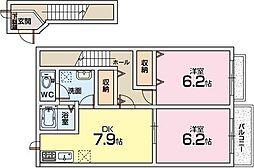 アネックス東中振[2階]の間取り