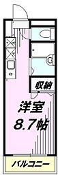 JR中央線 西八王子駅 徒歩4分の賃貸マンション 4階1Kの間取り