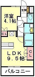 JR高崎線 北鴻巣駅 6.3kmの賃貸アパート 1階1LDKの間取り