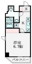 東急大井町線 旗の台駅 徒歩1分の賃貸マンション 2階1Kの間取り