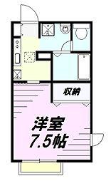 JR中央線 西八王子駅 バス10分 長房団地下車 徒歩3分の賃貸アパート 1階1Kの間取り