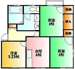 グリーンガーデンフジA[2階]の間取り