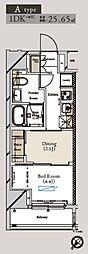 都営大江戸線 月島駅 徒歩1分の賃貸マンション 3階1DKの間取り