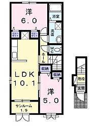 新潟県新発田市中曽根の賃貸アパートの間取り