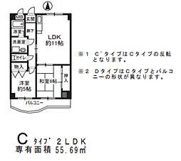 HACHIBUSE東大阪[5階]の間取り