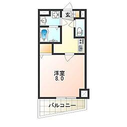 アドバンス大阪フェリシア 6階1Kの間取り