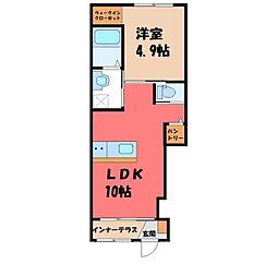 小山市神鳥谷アパート(仮) 1階1LDKの間取り
