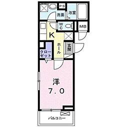 静岡県静岡市葵区籠上の賃貸アパートの間取り