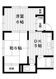 東京都練馬区貫井5丁目の賃貸アパートの間取り