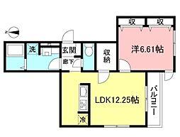 Sun Charme Seijyo 1階1LDKの間取り
