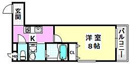 阪急京都本線 茨木市駅 徒歩10分の賃貸アパート 2階1Kの間取り