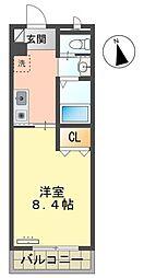 愛知環状鉄道 保見駅 徒歩10分の賃貸マンション 4階1Kの間取り
