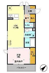 東京メトロ東西線 妙典駅 徒歩10分の賃貸アパート 2階1LDKの間取り