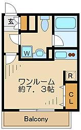 MDM世田谷代田 1階ワンルームの間取り