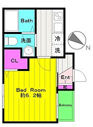 小田急小田原線 向ヶ丘遊園駅 徒歩12分の賃貸アパート 2階1Kの間取り