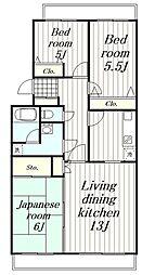 神奈川県横浜市瀬谷区上瀬谷町の賃貸マンションの間取り