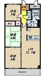 大阪府大阪市城東区放出西2丁目の賃貸マンションの間取り