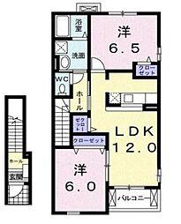 神奈川県伊勢原市高森1丁目の賃貸アパートの間取り