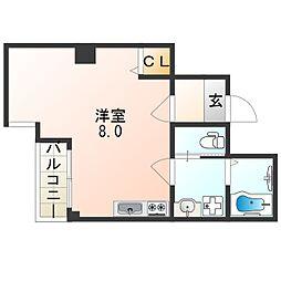 阪堺電気軌道阪堺線 我孫子道駅 徒歩1分の賃貸マンション 3階ワンルームの間取り