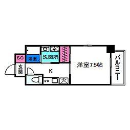SOAR NAGAI EKIMAE 3階1Kの間取り