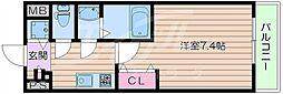阪急千里線 豊津駅 徒歩15分の賃貸マンション 7階1Kの間取り