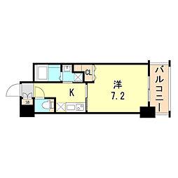 レジデンス神戸グルーブHarborWest 5階1Kの間取り
