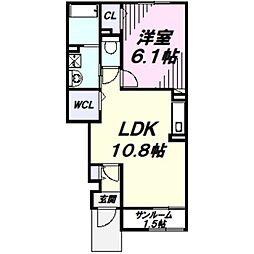 メゾン・ド・メルヴェイユ 1階1LDKの間取り