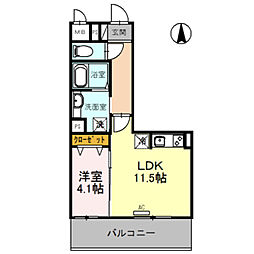 D-room旭ヶ丘町 4階1LDKの間取り