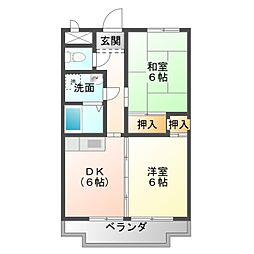 愛知県豊橋市牟呂市場町の賃貸マンションの間取り