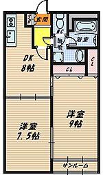 京橋第2コーポ[10階]の間取り