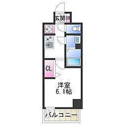 JR阪和線 美章園駅 徒歩9分の賃貸マンション 11階1Kの間取り