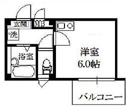シエルコート綾瀬 4階ワンルームの間取り