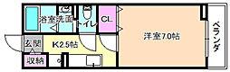 大阪府枚方市楠葉野田2丁目の賃貸アパートの間取り