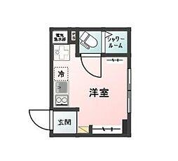 西武池袋線 椎名町駅 徒歩2分の賃貸マンション 4階ワンルームの間取り