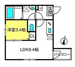THE HOUSE 与野本町 Noir 2階1LDKの間取り