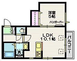 Verisa Kamiyoga 2階1LDKの間取り