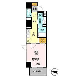 JR常磐線 馬橋駅 徒歩3分の賃貸マンション 8階1Kの間取り
